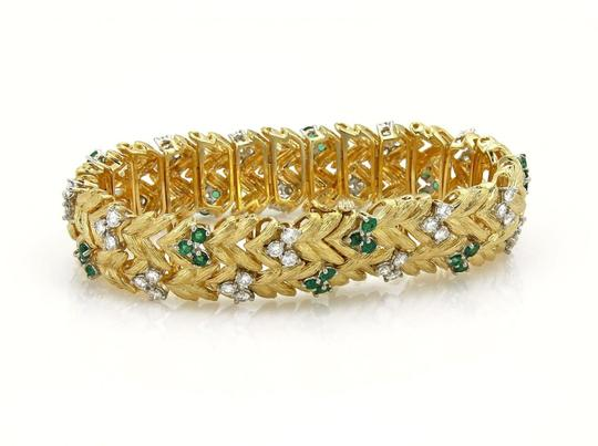 None Estate 7.60ct Emerald & Diamond 18k Yellow Gold Floral Leaf Bracelet Image 1