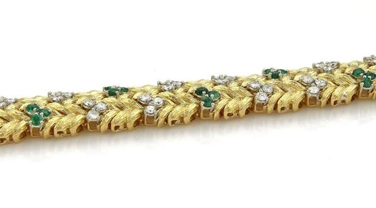 None Estate 7.60ct Emerald & Diamond 18k Yellow Gold Floral Leaf Bracelet Image 4