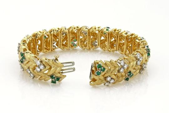 None Estate 7.60ct Emerald & Diamond 18k Yellow Gold Floral Leaf Bracelet Image 5