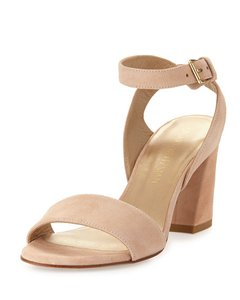Stuart Weitzman Suede Open Toe Ankle Strap Bisque Sandals