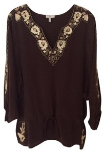 Joie Silk Embroidered Top Brown