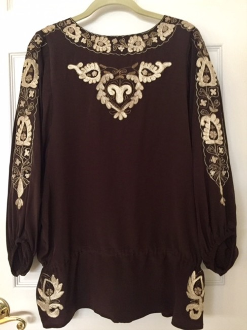 Joie Silk Embroidered Top Brown Image 1