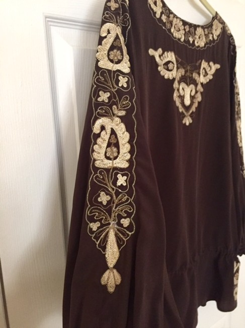 Joie Silk Embroidered Top Brown Image 2