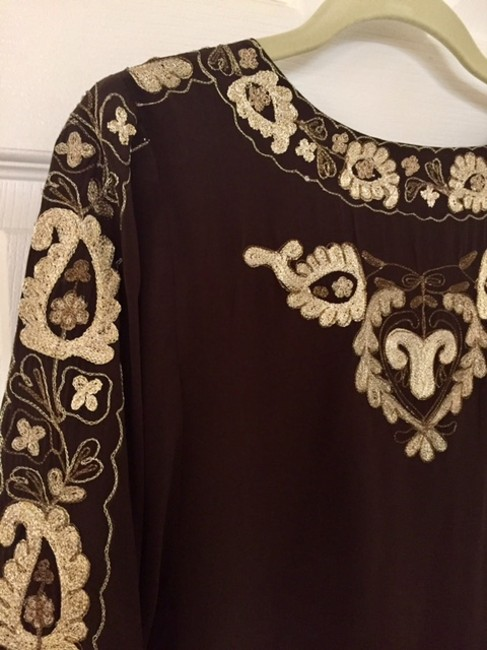Joie Silk Embroidered Top Brown Image 3
