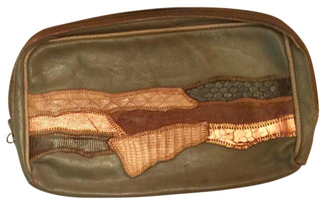 Vintage Gray Leather Clutch Vintage Gray Leather Clutch Image 1