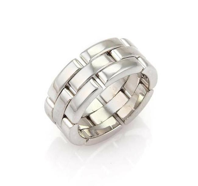 Item - 12399 S - Maillon Panthere 18k White Gold 3 Row Band Ring