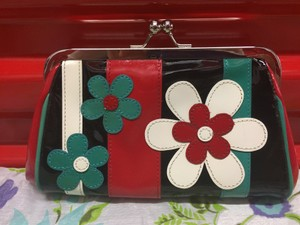 Isabella Fiore Purse Leather Patentleather red, white, blue, black Clutch