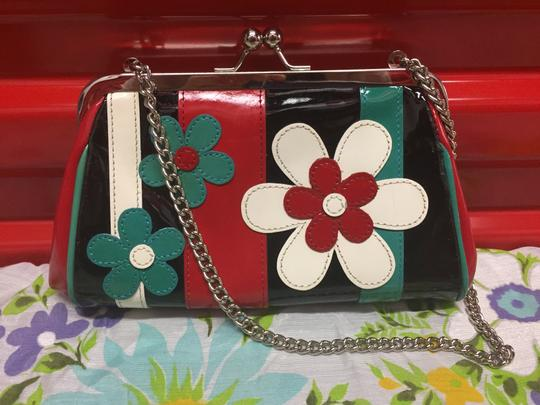 Isabella Fiore Purse Leather Patentleather red, white, blue, black Clutch Image 5
