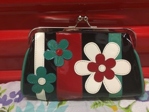 Isabella Fiore Patentleather Leather Purse red, blue, black, and white Clutch