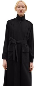 Rodebjer Designer Belted Pleated Crepe Chic Coat