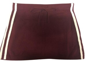 Juicy Couture Cashmere Track Mini Skirt Maroon, White