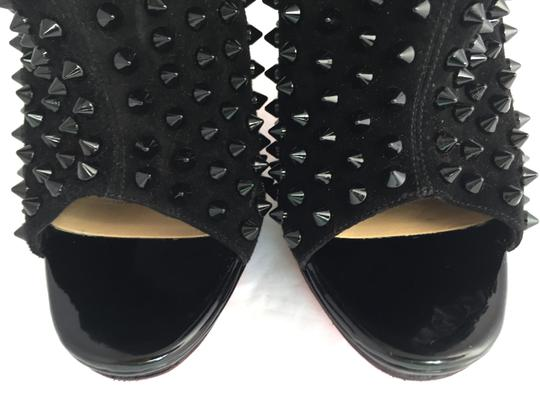 Christian Louboutin Pigalle Strass Thigh High Sandals Slingback Ankle Black Boots Image 1
