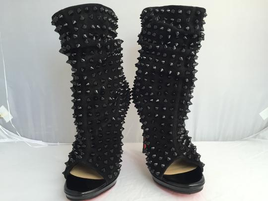 Christian Louboutin Pigalle Strass Thigh High Sandals Slingback Ankle Black Boots Image 3