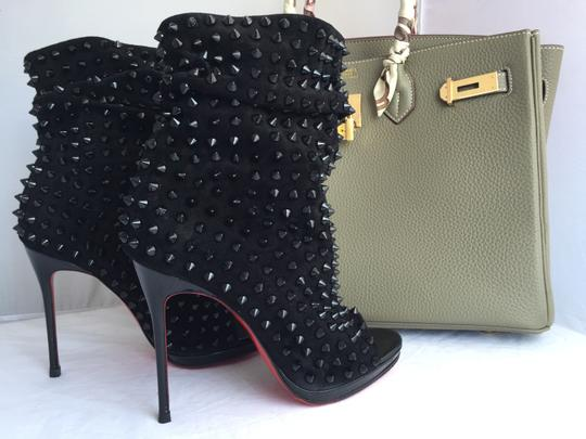 Christian Louboutin Pigalle Strass Thigh High Sandals Slingback Ankle Black Boots Image 5