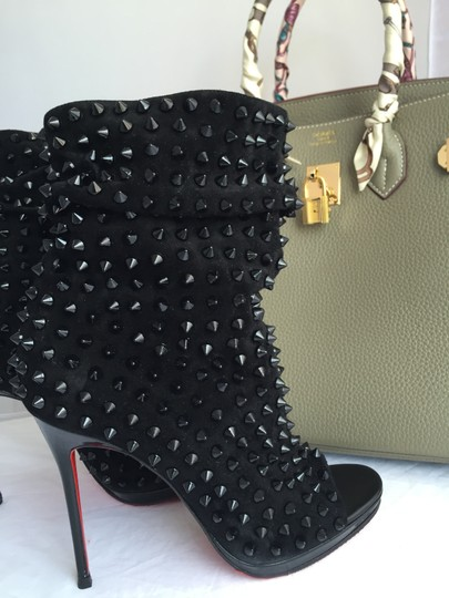 Christian Louboutin Pigalle Strass Thigh High Sandals Slingback Ankle Black Boots Image 6