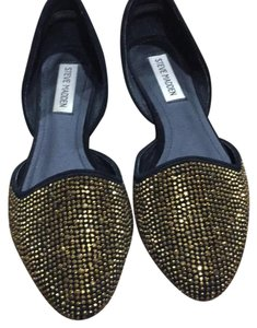 Steve Madden black with gold rhinestone Flats
