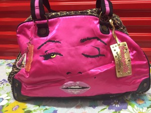 Betseyville by Betsey Johnson Shocking Pink, Black, Leopard Print Travel Bag