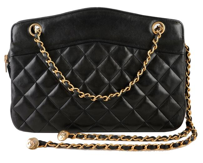 Chanel Shopping Tote Quilted Matelasse Black Lambskin Leather Shoulder Bag Chanel Shopping Tote Quilted Matelasse Black Lambskin Leather Shoulder Bag Image 1