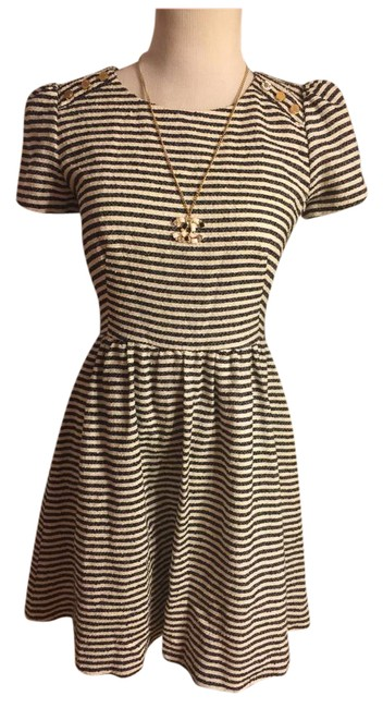 Juicy Couture Black/White/Gold Nwot-sz & Striped /Gold Logo Shoulder Button Sleeved Mid-length Short Casual Dress Size 4 (S) Juicy Couture Black/White/Gold Nwot-sz & Striped /Gold Logo Shoulder Button Sleeved Mid-length Short Casual Dress Size 4 (S) Image 1