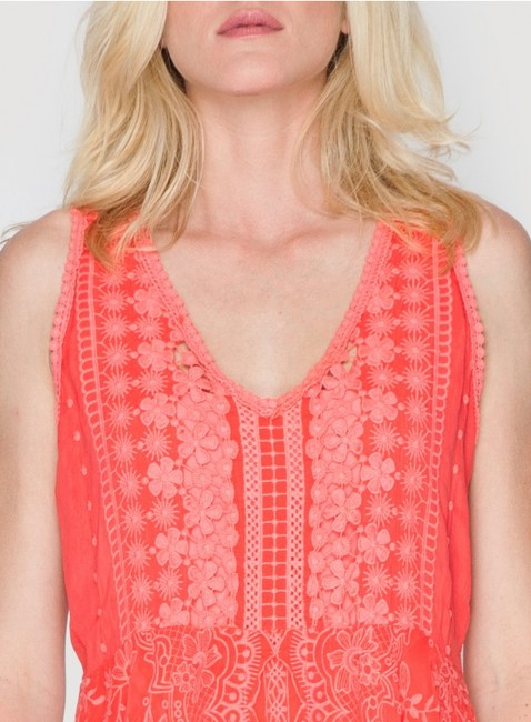 Johnny Was short dress pink Crochet Embroidered Scalloped V-neck Sleeveless on Tradesy Image 3
