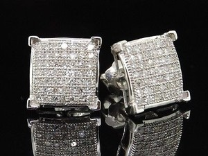 Mens Ladies White Gold 13ct Diamond Studs Earring Pave