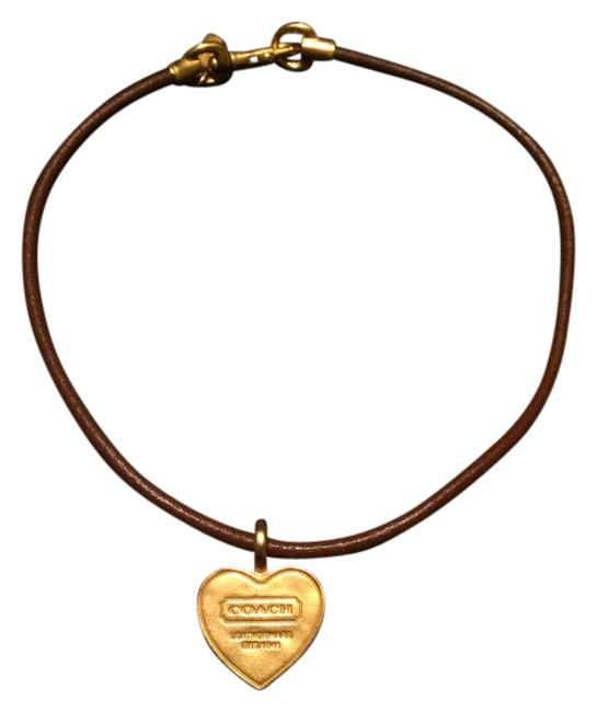 Item - Brown Leather with Gold Tone Heart Pendant and Clasp Necklace