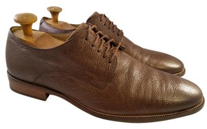 Cole Haan Brown Man Oxfords Pebbled Leather Shoes