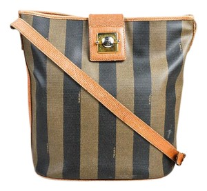 Fendi Satchel/Cross Body Early Xl Mint Condition Satchel in browns and black wide striped coated canvas and pecan colored leather pequin design