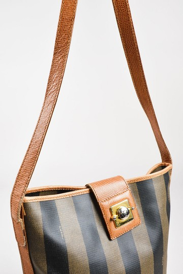 Fendi Satchel/Cross Body Early Xl Mint Condition Satchel in browns and black wide striped coated canvas and pecan colored leather pequin design Image 3