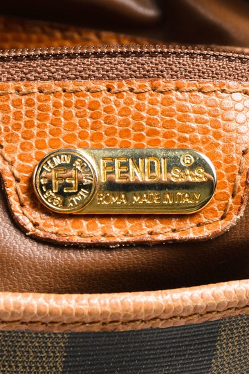 Fendi Satchel/Cross Body Early Xl Mint Condition Satchel in browns and black wide striped coated canvas and pecan colored leather pequin design Image 5