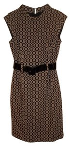 Nine West short dress Tan & Black Classic Pattern Tasteful Mock Turtleneck Great For Work on Tradesy