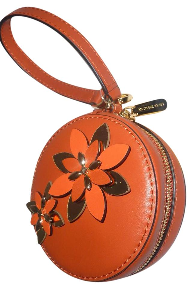 Michael Kors Floral Flower Soft Leather Round Circle Wristlet in Orange  Image 0 ...