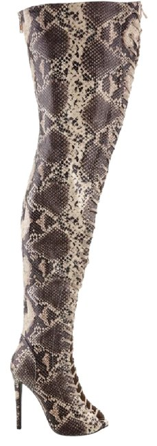 Item - Multi Snake Python 10-zigi-piarry-faux-snakeskin-thigh-high-stiletto-lace-crotch-boots Boots/Booties Size US 10 Regular (M, B)