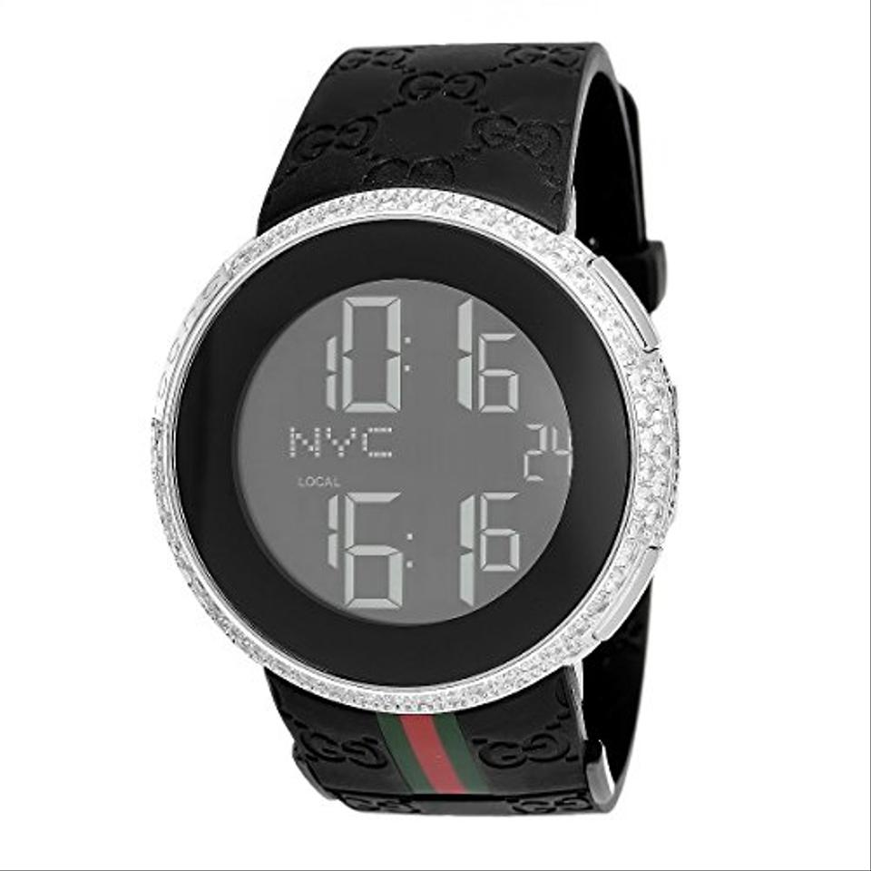 59acf0e046a Gucci Mens Diamond I Gucci Digital Stainless Steel Rubber Band Swiss Watch  Image 0 ...