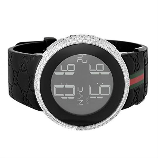 Gucci Mens Diamond I Gucci Digital Stainless Steel Rubber Band Swiss Watch Image 1
