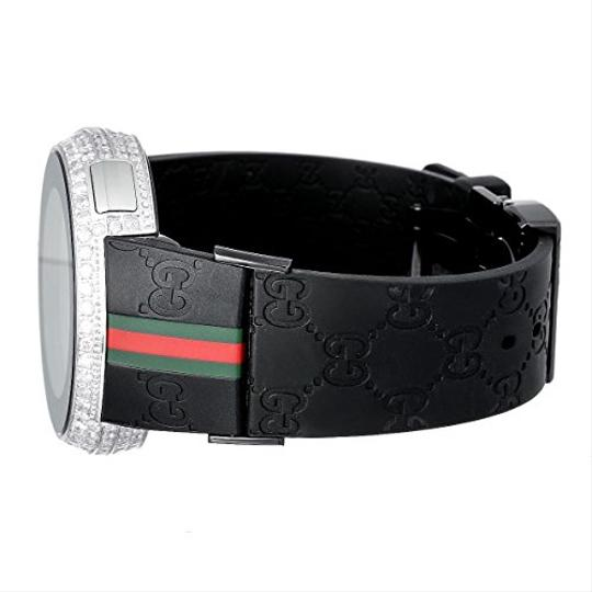 Gucci Mens Diamond I Gucci Digital Stainless Steel Rubber Band Swiss Watch Image 4