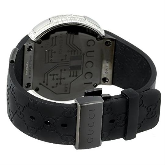 Gucci Mens Diamond I Gucci Digital Stainless Steel Rubber Band Swiss Watch Image 5
