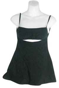 Derek Lam Strappy Cut-out Flared Cotton/Silk Tunic Top Black