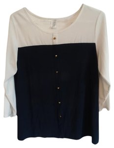 Claudia Richard Top cream top/navy blue bottom
