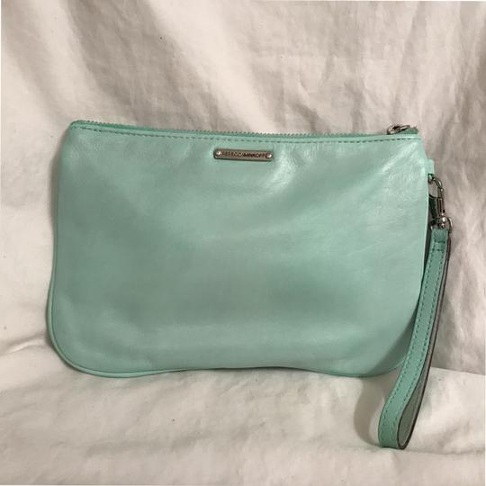 Rebecca Minkoff Purse Handbag Clutch Distressed Evening Wristlet in Green Silver Image 1