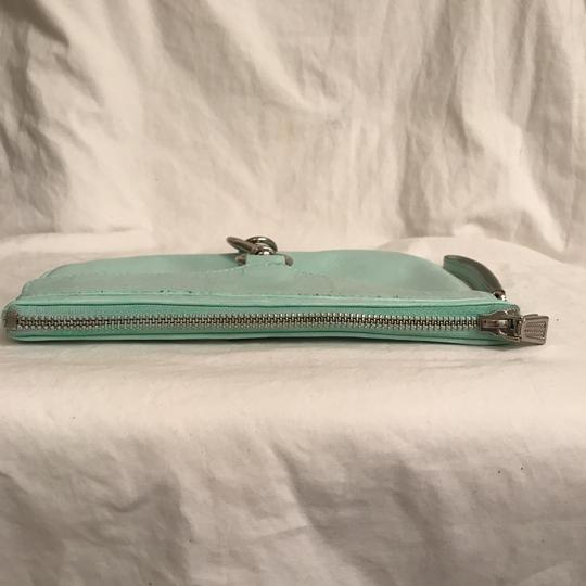 Rebecca Minkoff Purse Handbag Clutch Distressed Evening Wristlet in Green Silver Image 2