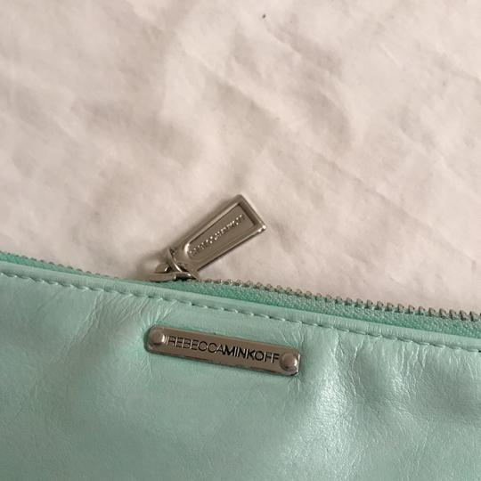 Rebecca Minkoff Purse Handbag Clutch Distressed Evening Wristlet in Green Silver Image 6