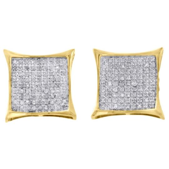 Jewelry For Less 10k Yellow Gold Real Diamond Pave Studs 13.40mm Kite Earrings 0.50 Ct.