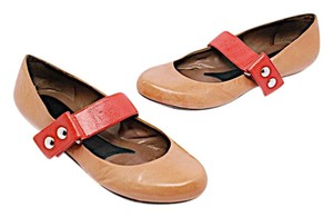 Marni Mary Jane Coral & Tan Flats