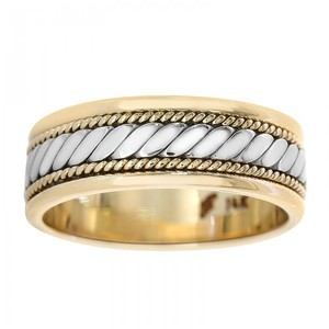 Avital & Co Jewelry 14k Two Tone Gold 7.0mm Comfort Fit Men's Wedding Band