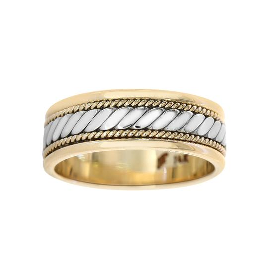 Avital & Co Jewelry 14k Two Tone Gold 7.0mm Comfort Fit Men's Wedding Band Image 2