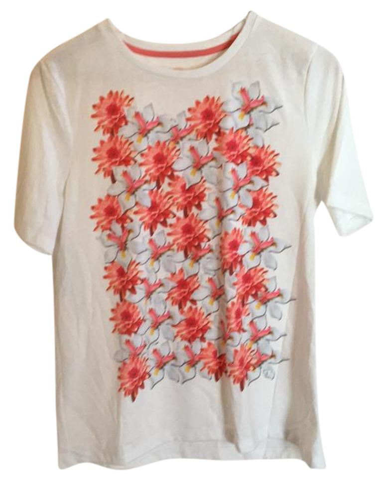 65930cdf5968 Tory Burch White Pink Floral 21152156 Tee Shirt Size 8 (M) - Tradesy