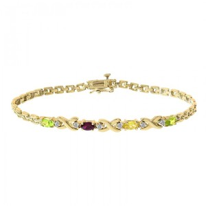 Avital & Co Jewelry 0.06 Carat Diamond And Multicolor Stones Bracelet 14K Yellow Gold
