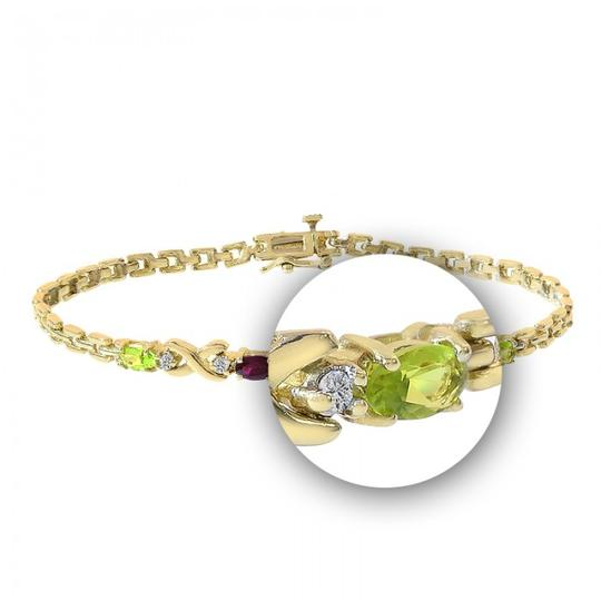 Avital & Co Jewelry 0.06 Carat Diamond And Multicolor Stones Bracelet 14K Yellow Gold Image 1
