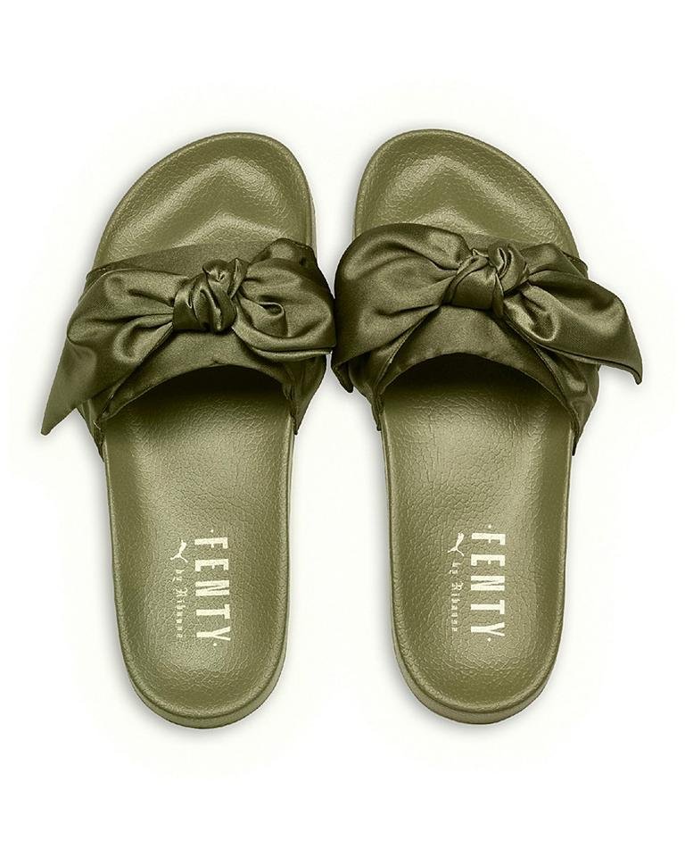wholesale dealer 8ff57 1eda2 FENTY PUMA by Rihanna Olive Green Satin Bandana Pool Slide Sandals Flats  Size US 7.5 Regular (M, B)